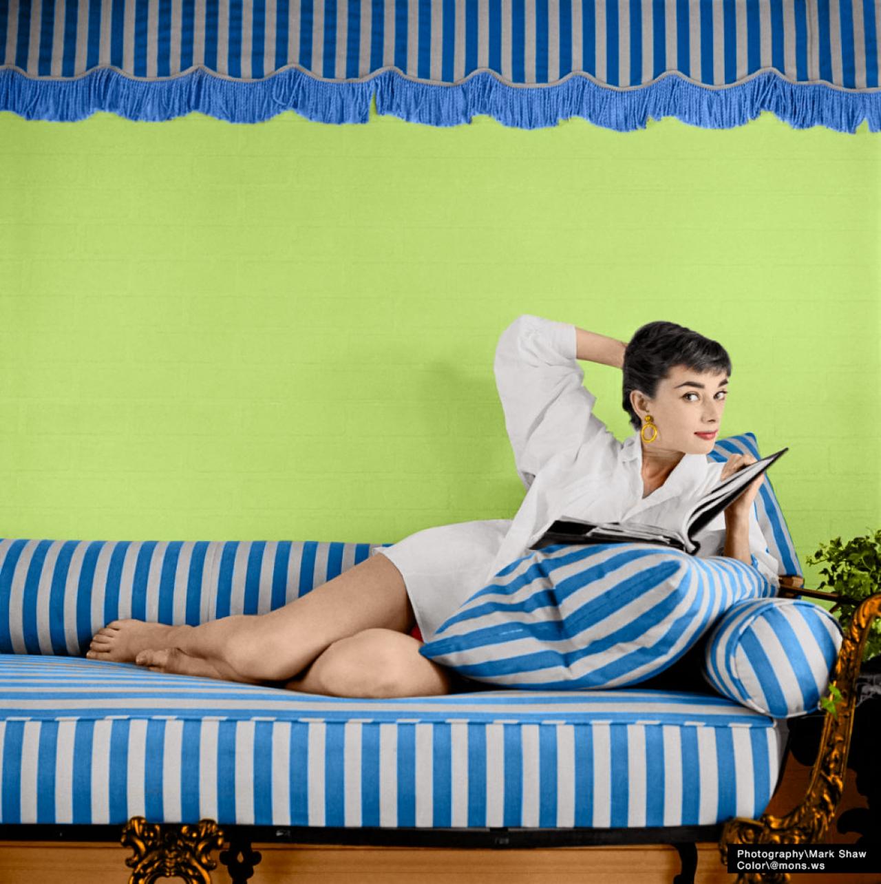 Колоризация фотографии Одри Хепберн  Audrey Hepburn  2 фото