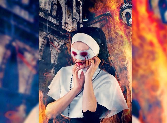 Фотосессия - игривая монахиня [3 фото]